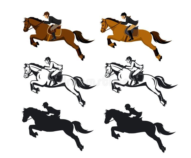 Insieme di salto del cavallo di guida della donna e dell'uomo illustrazione di stock
