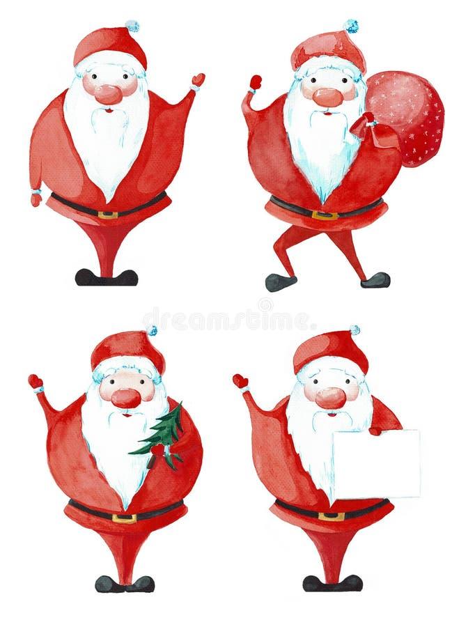 Insieme di Santa Claus in varie pose Acquerello dipinto isolato illustrazione di stock