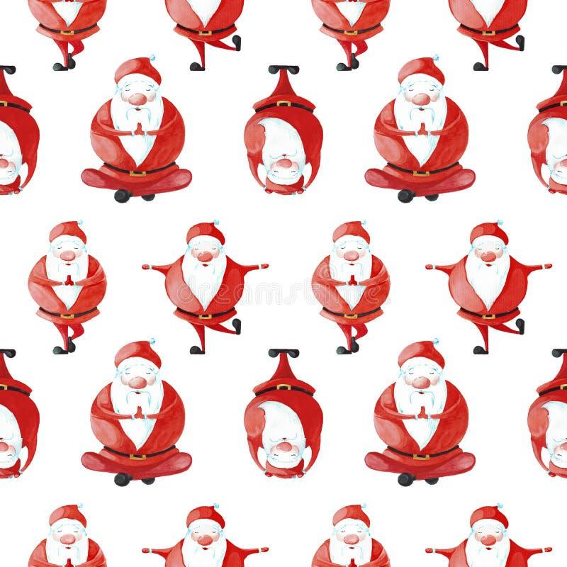 Insieme di Santa Claus in varie pose di yoga Reticolo senza giunte illustrazione vettoriale