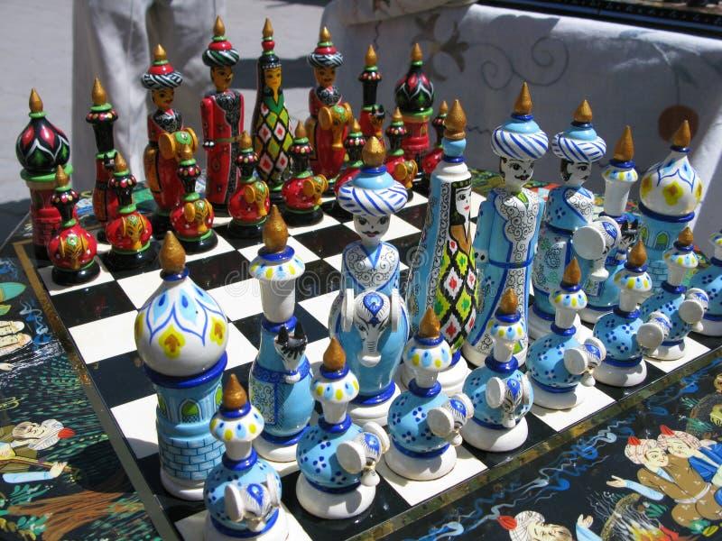 Insieme di scacchi dell'Uzbeco immagine stock