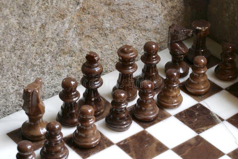 Insieme di scacchi di marmo fotografia stock