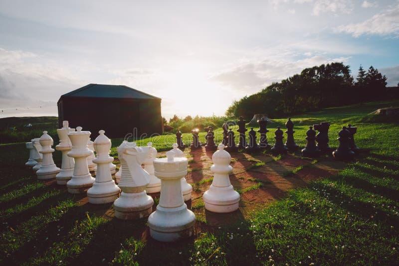 Insieme di scacchi esterno immagini stock libere da diritti