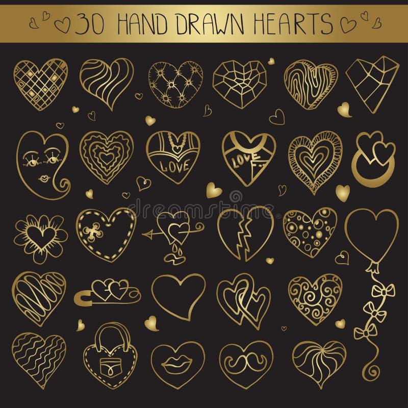 Insieme di scarabocchio del disegno della mano dei cuori Decorazione dell'oro royalty illustrazione gratis