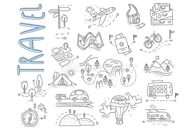 Insieme di scarabocchio del viaggio e delle icone di campeggio Cartello, aerostato, bici, foresta, strada, macchina fotografica,  royalty illustrazione gratis