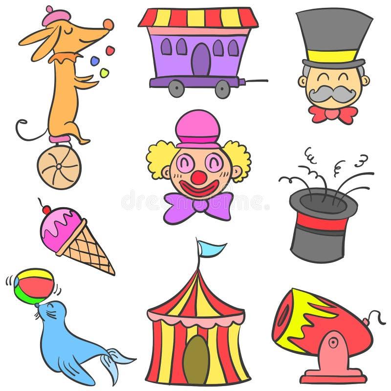 Insieme di scarabocchio dell'elemento del circo vario royalty illustrazione gratis