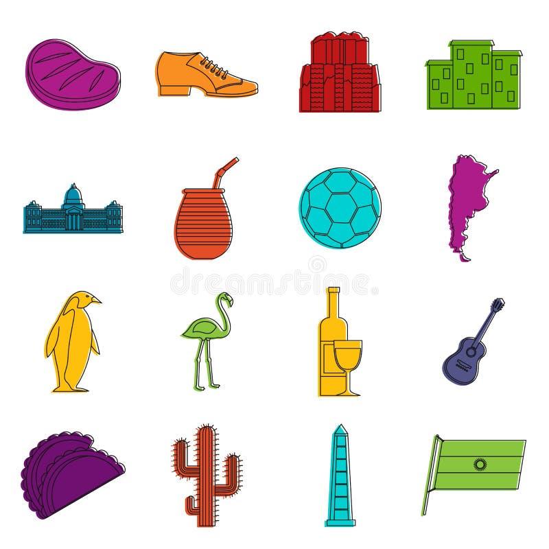 Insieme di scarabocchio delle icone degli oggetti di viaggio dell'Argentina illustrazione vettoriale