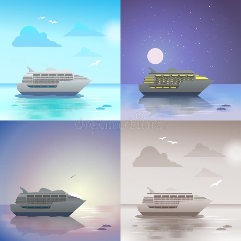 Insieme di scena della nave da crociera dell'oceano illustrazione vettoriale