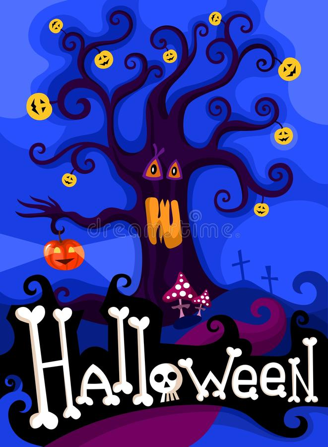 Insieme di scheda di Hallowen illustrazione di stock
