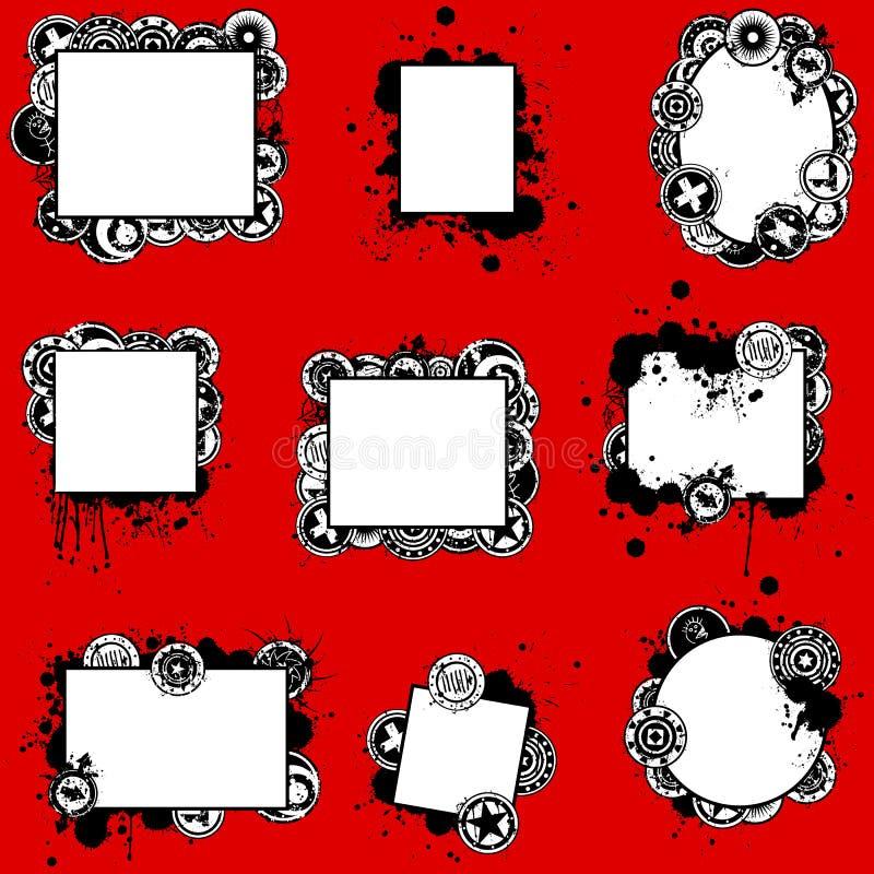 Insieme di schede unico dello Splatter di Grunge illustrazione di stock