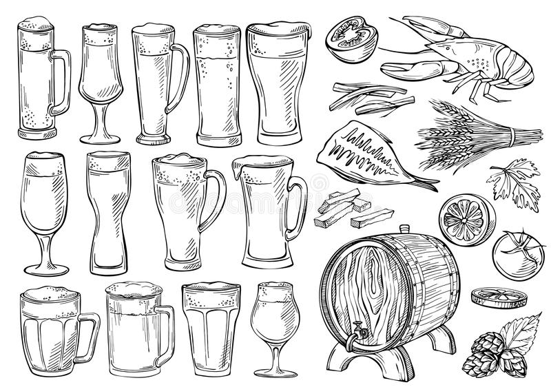 Insieme di schizzo dei vetri e delle tazze di birra nello stile disegnato a mano dell'inchiostro royalty illustrazione gratis