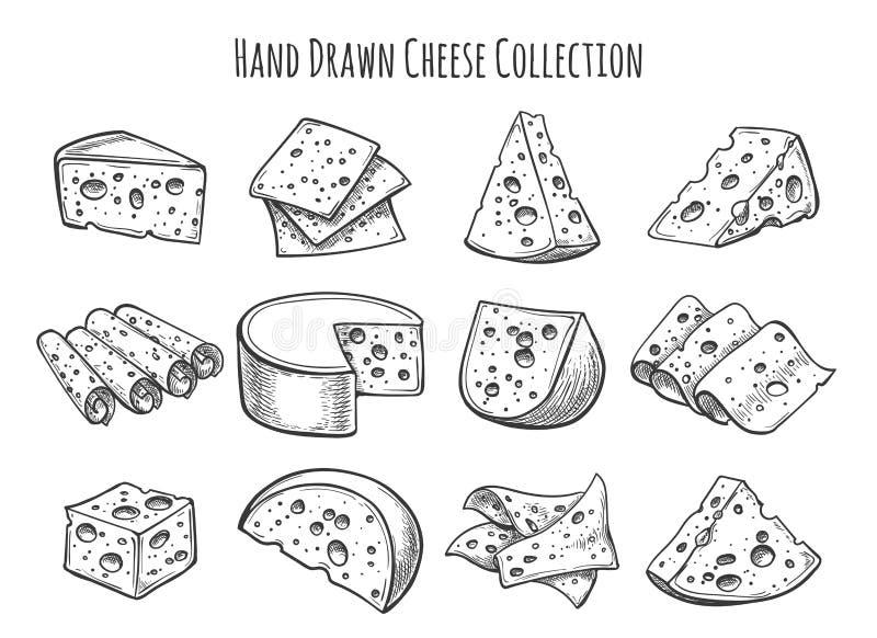 Insieme di schizzo del formaggio royalty illustrazione gratis