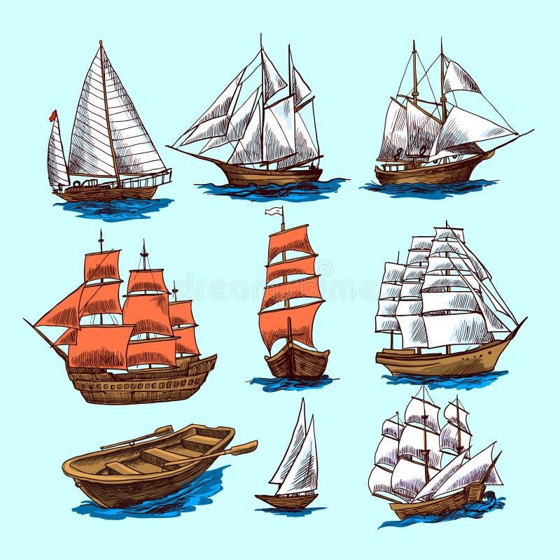 Insieme di schizzo delle barche e delle navi illustrazione di stock