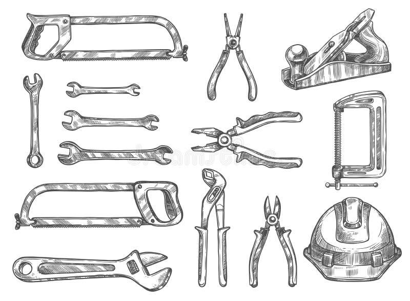 Insieme di schizzo isolato strumento di riparazione e della costruzione illustrazione di stock