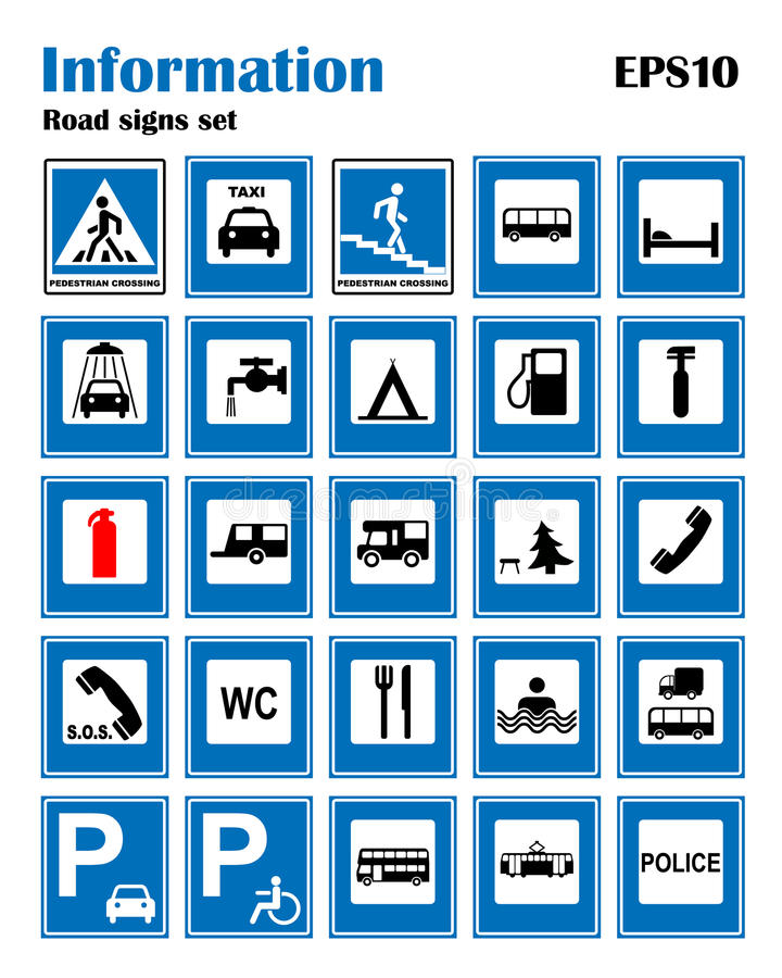 Insieme di simboli blu della strada informativa Illustrazione di vettore isolata su bianco Segni obbligatori Insegna pronta per l illustrazione di stock