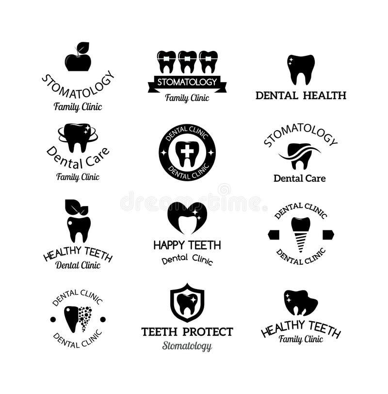 Insieme di simboli del dentista royalty illustrazione gratis