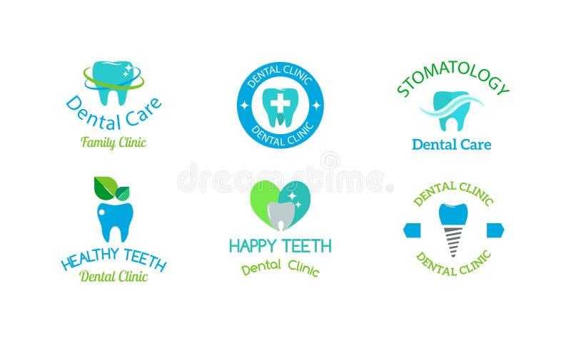 Insieme di simboli del dentista illustrazione di stock