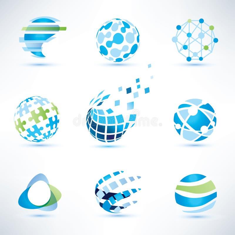 Insieme di simboli del globo, comunicazione ed icone astratti di tecnologia illustrazione di stock