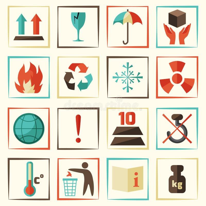 Insieme di simboli dell'imballaggio illustrazione vettoriale