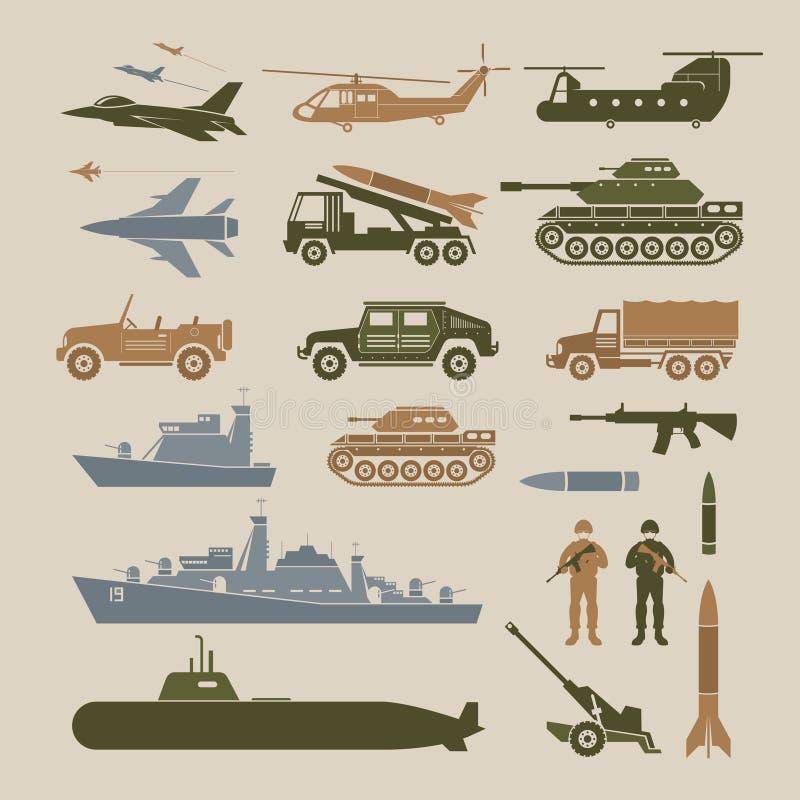 Insieme di simboli dell'oggetto dei veicoli militari, vista laterale illustrazione di stock