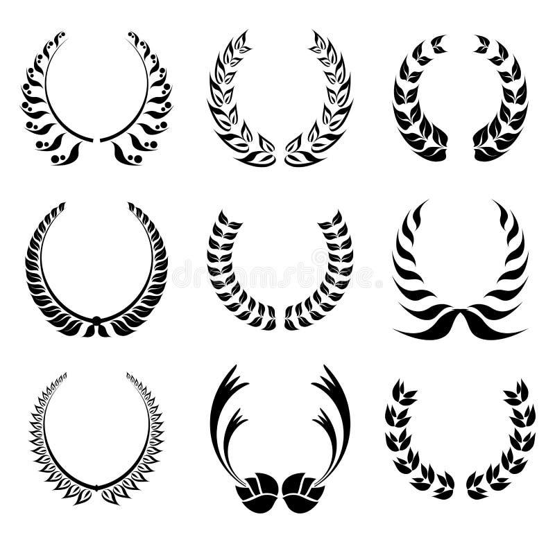 Insieme di simboli della corona dell'alloro royalty illustrazione gratis