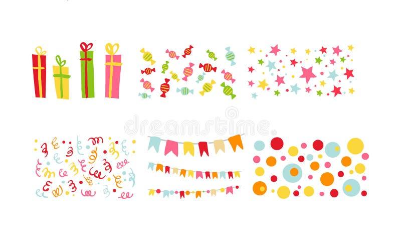 Insieme di simboli della festa di compleanno, elementi festivi di progettazione di carnevale variopinto con le bandiere, coriando illustrazione vettoriale