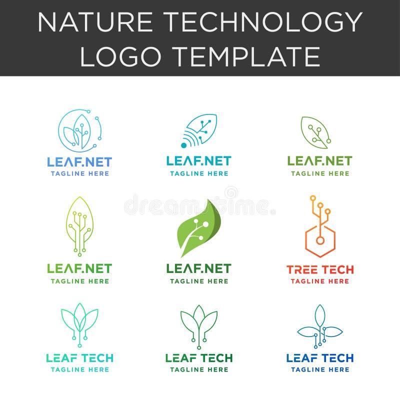 insieme di simboli della natura di Internet di progettazione di vettore della raccolta di logo di tecnologia della foglia illustrazione di stock