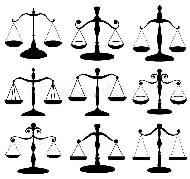 Insieme di simboli della scala di legge illustrazione vettoriale