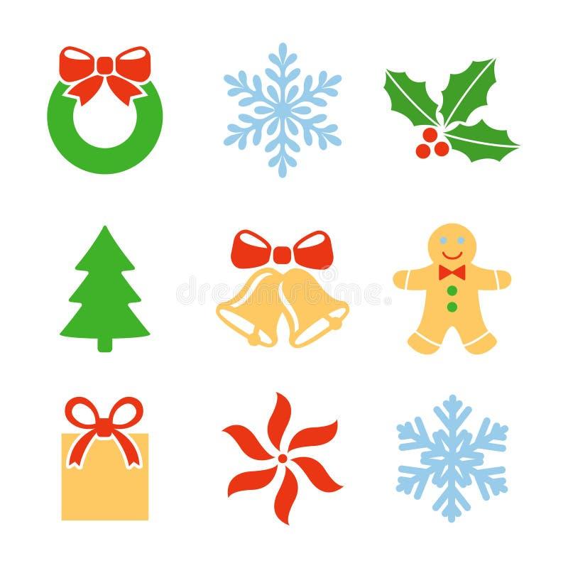 Insieme di simboli di Natale illustrazione vettoriale
