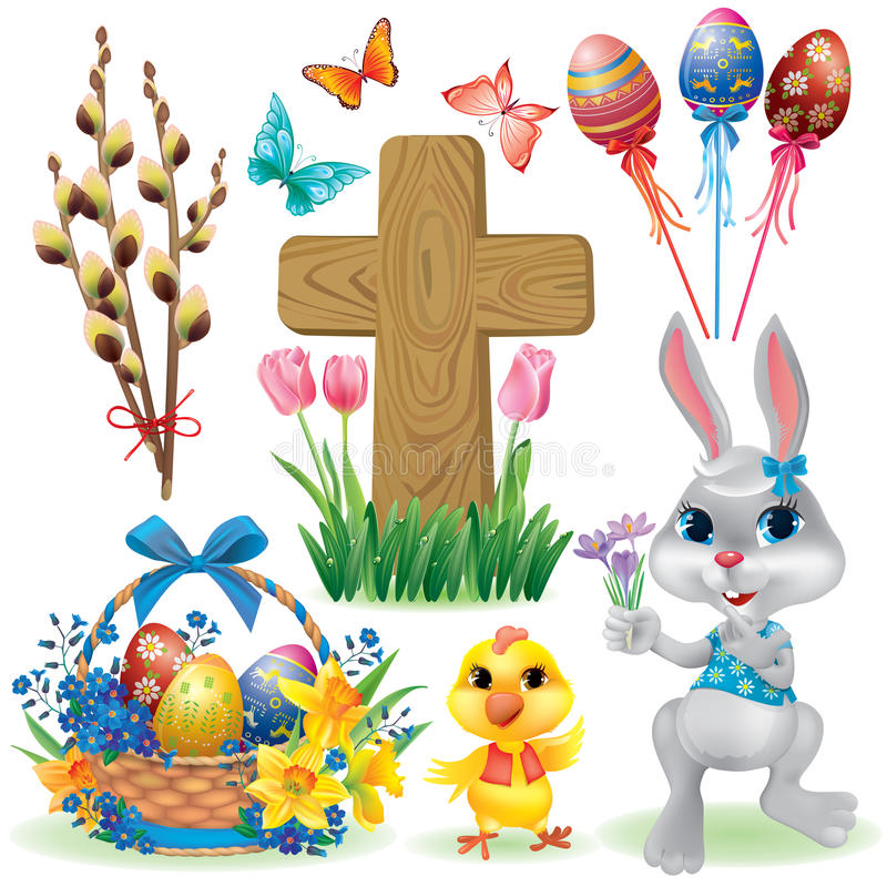 Insieme di simboli di Pasqua illustrazione di stock