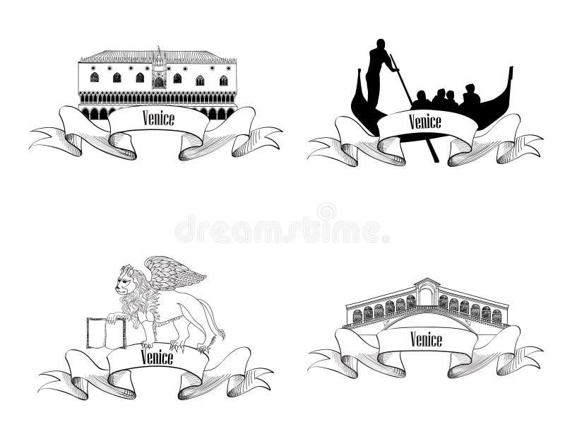 Insieme di simboli di Venezia Insieme di etichetta dell'Italia di viaggio illustrazione di stock