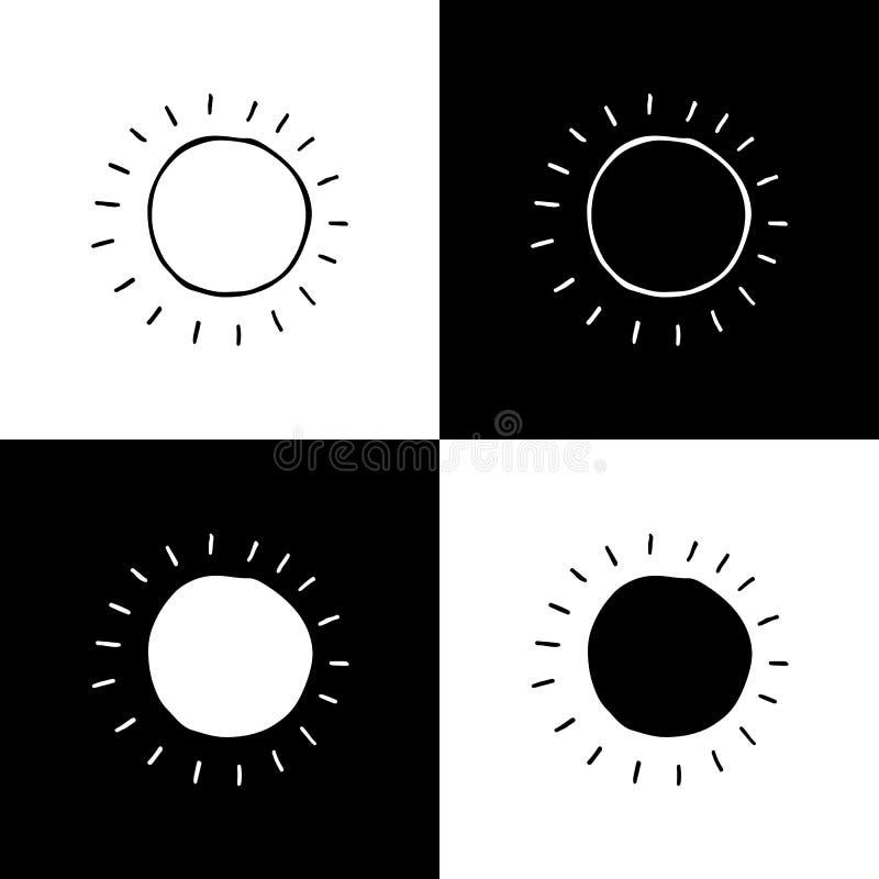 Insieme di simboli disegnato a mano di vettore di Sun illustrazione vettoriale