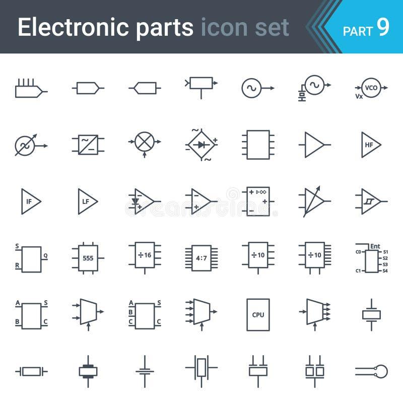 Insieme di simboli elettrico ed elettronico dello schema circuitale di circuiti, blocchi, fasi, amplificatore, circuiti logici, c royalty illustrazione gratis