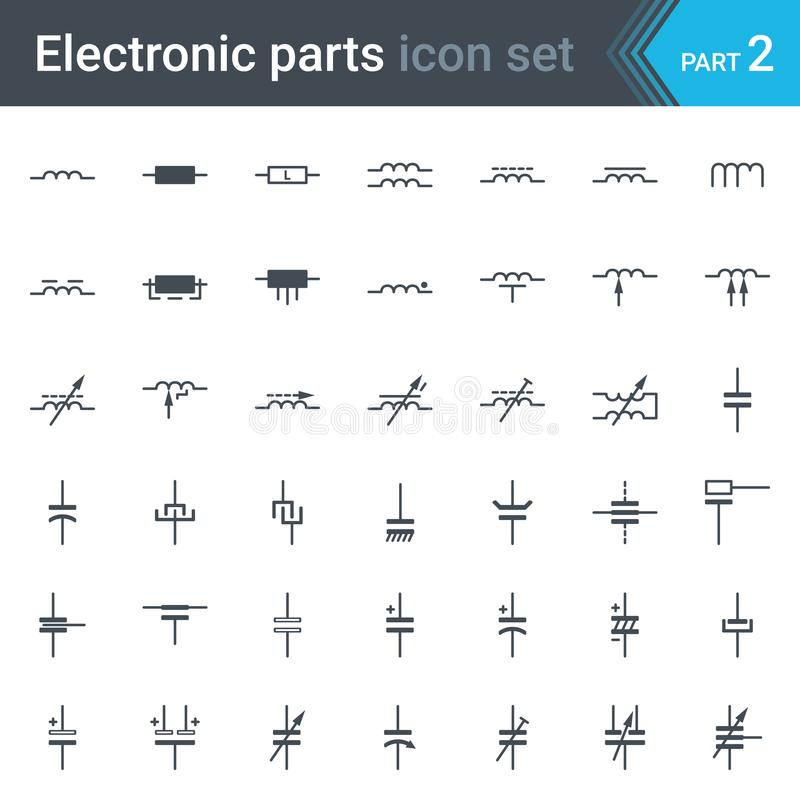 Insieme di simboli elettrico ed elettronico dello schema circuitale degli induttori, delle bobine, dei condensatori e dei condens illustrazione vettoriale