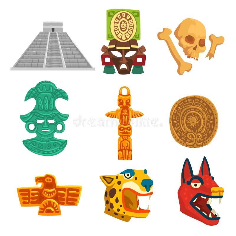 Insieme di simboli etnico di civilizzazione di maya, illustrazione tribale americana di vettore degli elementi della cultura su u illustrazione di stock