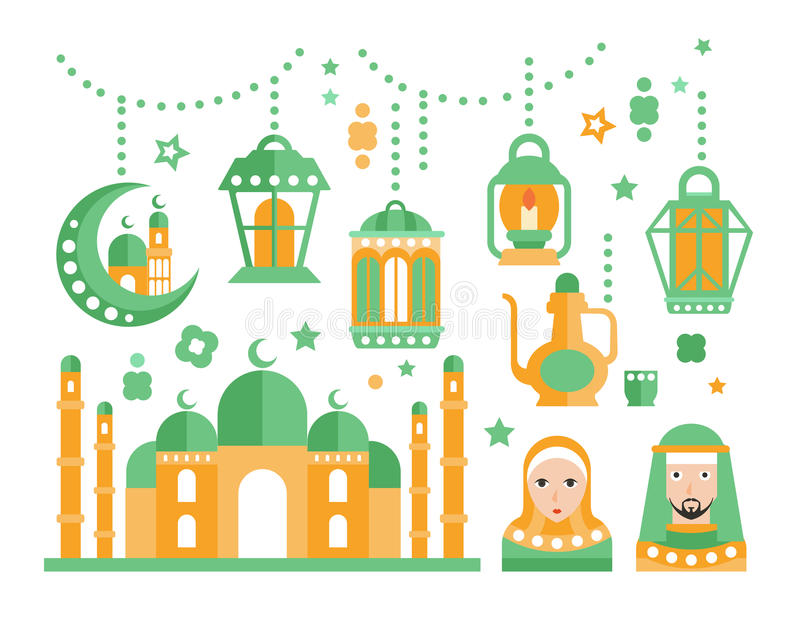 Insieme di simboli islamico di festa religiosa illustrazione vettoriale