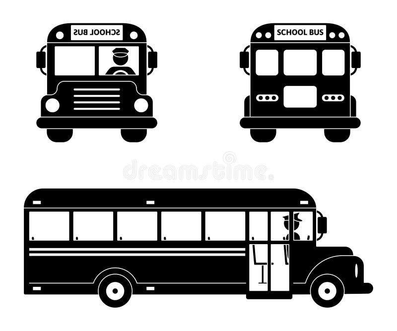 Insieme di simboli nero dello scuolabus Parte anteriore, lato e vista posteriore su bianco illustrazione di stock