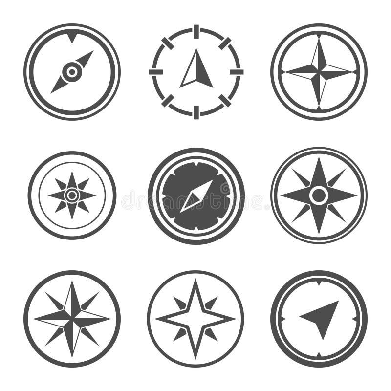 Insieme di simboli piano di vettore della bussola della rosa dei venti illustrazione vettoriale