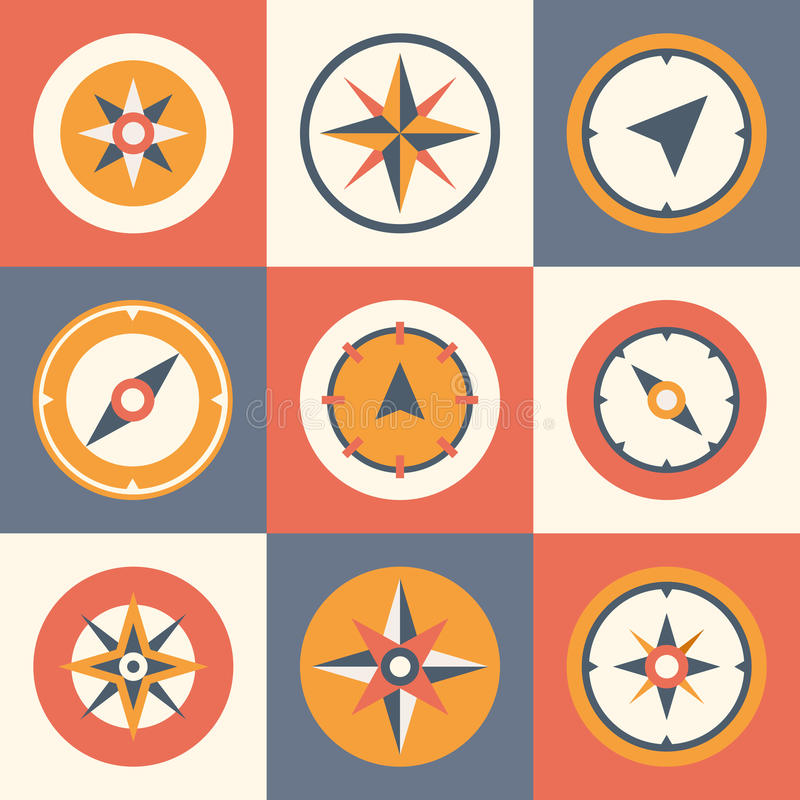 Insieme di simboli piano di vettore della bussola della rosa dei venti illustrazione di stock