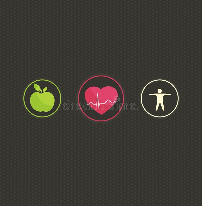 Insieme di simboli sano di concetto di stile di vita illustrazione di stock