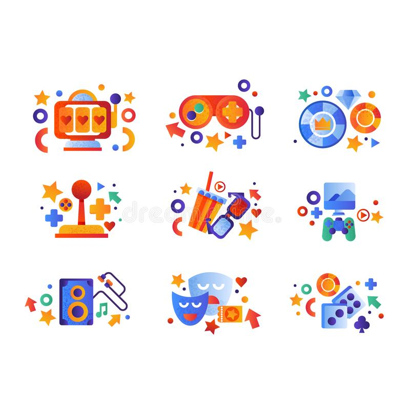 Insieme di simboli di spettacolo, slot machine, regolatore del gioco, segni del casinò, attrezzature sane musicali, commedia e tr illustrazione di stock