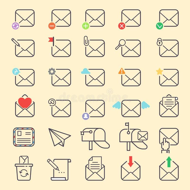 Insieme di simboli di web di comunicazione delle icone del profilo di vettore della copertura della busta del email Indirizzo del illustrazione di stock