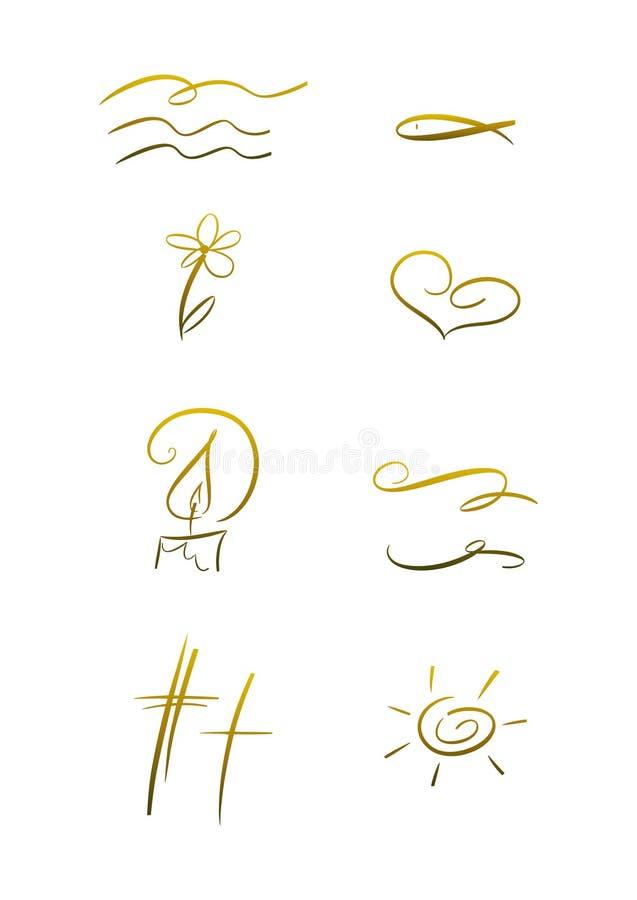 Insieme di simbolo cristiano illustrazione vettoriale