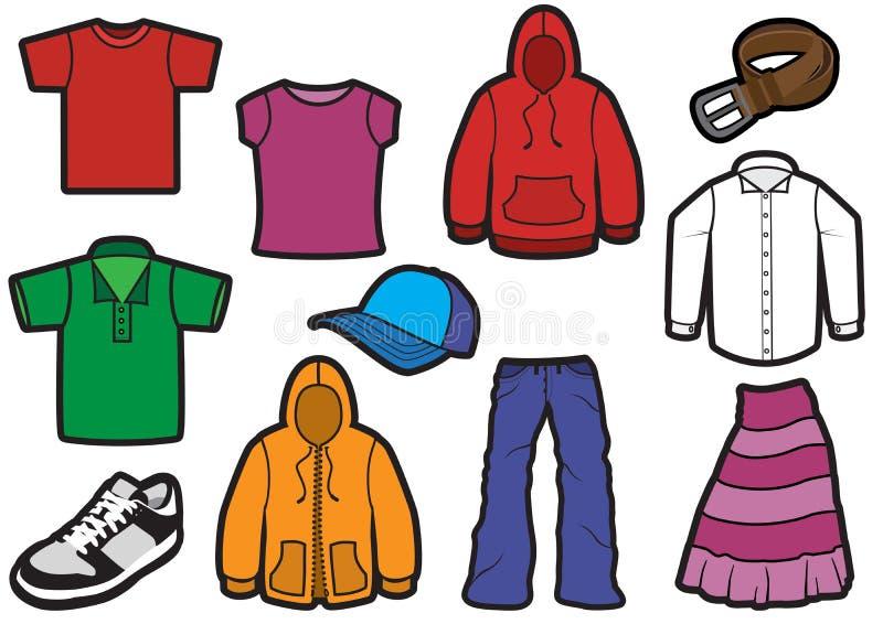 Insieme di simbolo dei vestiti con i profili stampati in neretto royalty illustrazione gratis