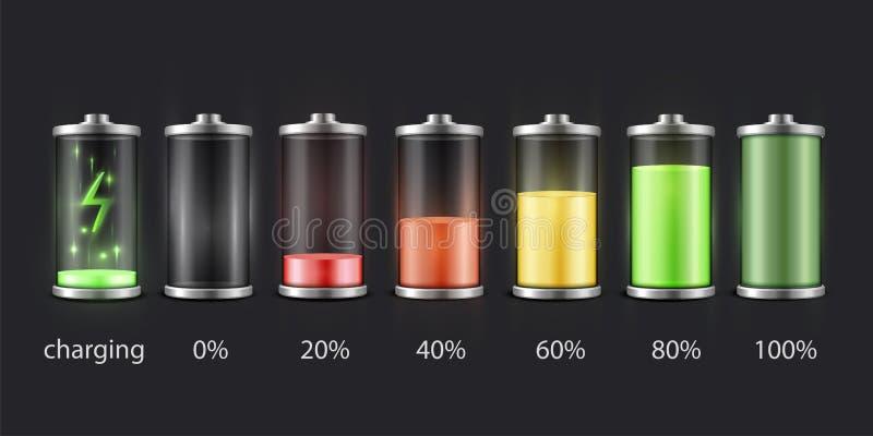 Insieme di stato della carica della batteria, immagine dell'indicatore dell'accumulatore illustrazione di stock