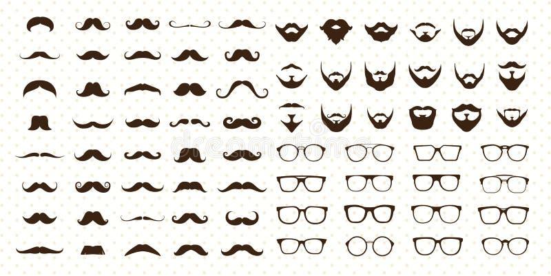 Insieme di stile dei baffi, della barba e degli occhiali da sole illustrazione di stock