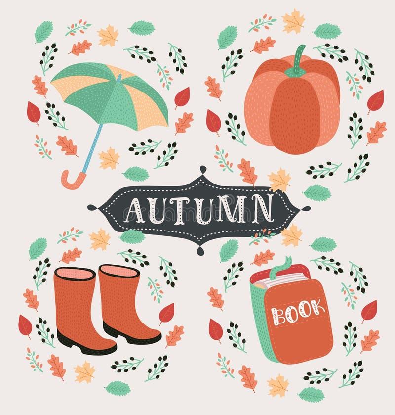 Insieme di stile del fumetto di vettore dei simboli di autunno: volpe, zucca, stivali gialli ed altri Icona per il web Isolato su illustrazione di stock