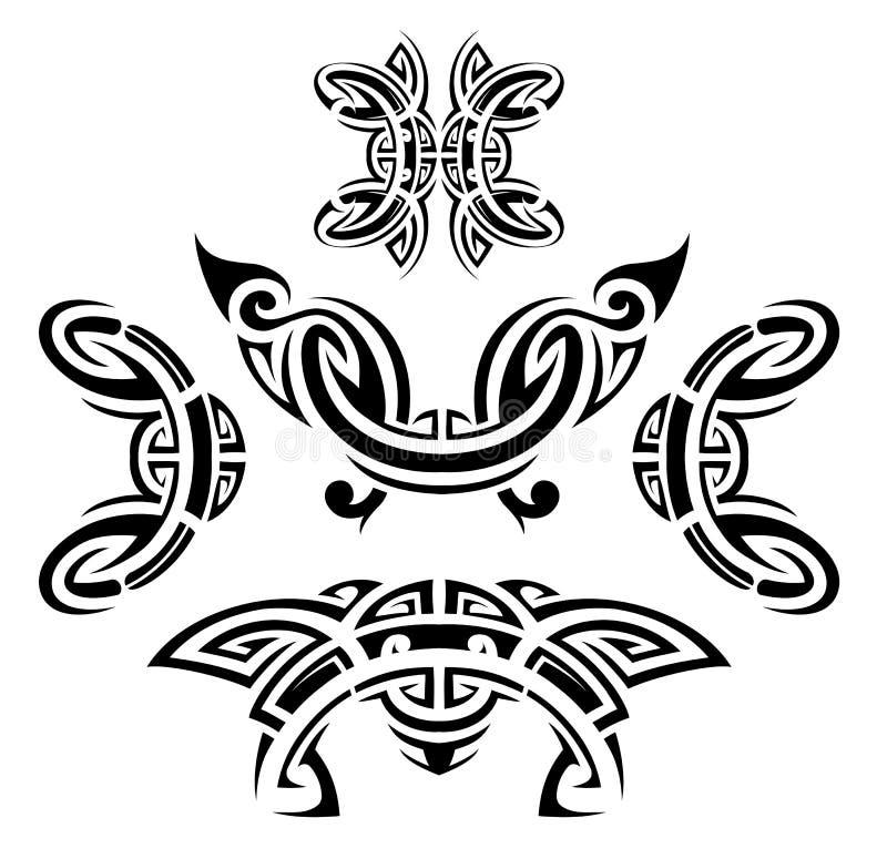 Insieme di stile del tatuaggio royalty illustrazione gratis