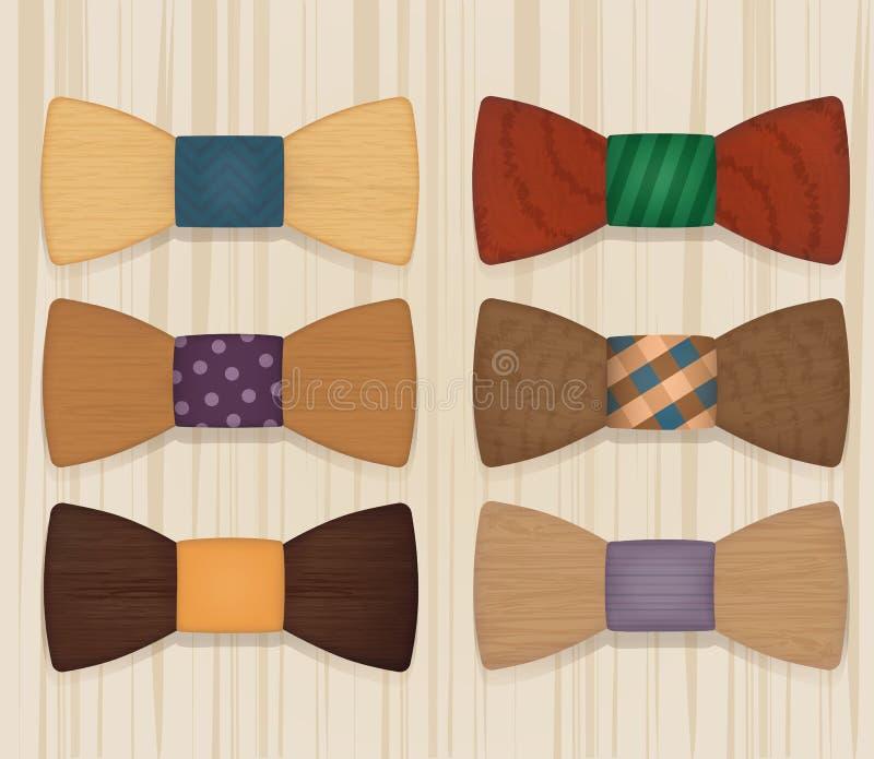 Insieme di stile di legno degli oggetti dei farfallini illustrazione di stock