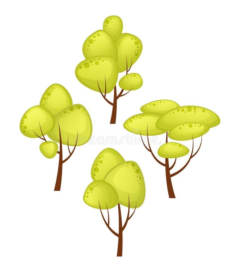 Insieme di stile differente del fumetto degli alberi Albero verde di estate Illustrazione del fumetto di vettore illustrazione di stock