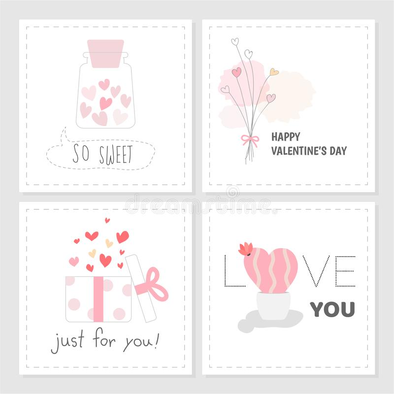 Insieme di stile disegnato a mano di colore dolce di rosa dell'etichetta di San Valentino royalty illustrazione gratis